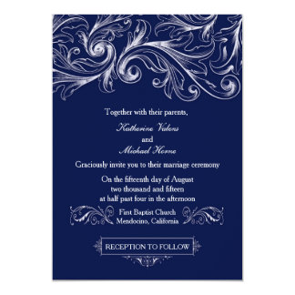 Navy Blue Lace Invitation - Vintage Glam