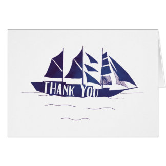 Navy Blue Large Ship Sail Boat Thank You Note Card