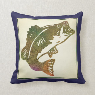 Navy Blue Leaping Trout Fishing Throw Pillow