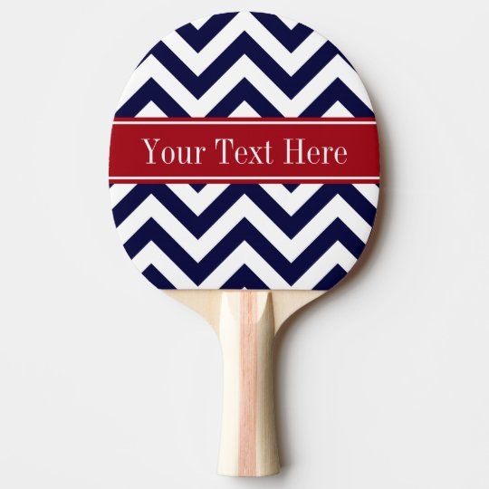 Navy Blue Lg Chevron Cranberry Name Monogram Ping Pong Paddle