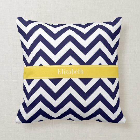 Navy Blue Lg Chevron Pineapple Name Monogram Throw Pillow