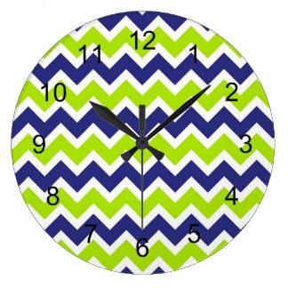 Navy blue lime green chevron clock