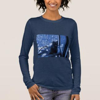 Navy Blue Long Sleeve Shirt w. Photo of Fluffy Cat