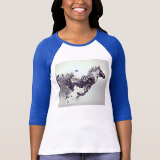 navy blue long sleeved gray horse tshirt
