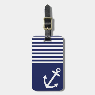 Navy Blue Love Anchor Nautical Luggage Tag