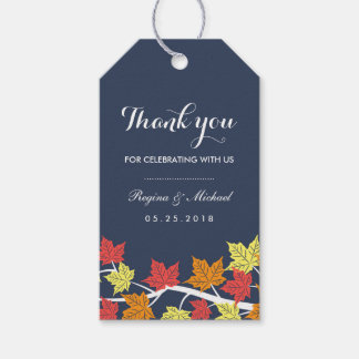 Navy Blue Maple Leaf Autumn Wedding Gift Tag Pack Of Gift Tags