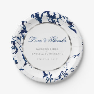 Navy Blue Marble, Silver and White Paper Plate