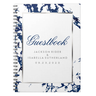 Navy Blue Marble, Silver & White  - Guest Book