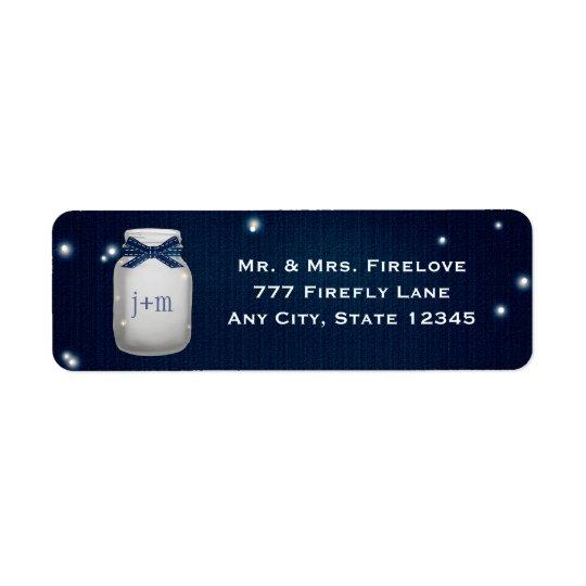 Navy Blue Mason Jar with Fireflies Return Address