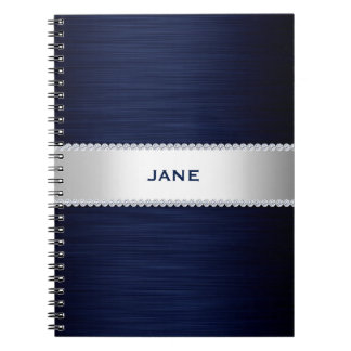 navy blue metal with diamonds and name notebook