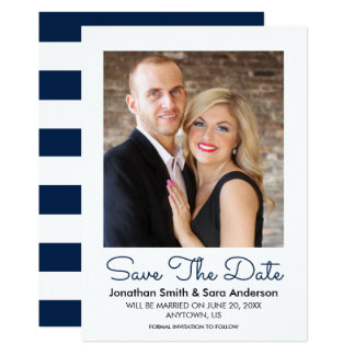 Navy Blue   Minimal Save The Date Photo Card