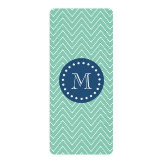 "Navy Blue, Mint Green Chevron Pattern | Your Monog 4"" X 9.25"" Invitation Card"