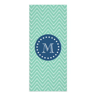 "Navy Blue, Mint Green Chevron Pattern | Your Monog 4"" X 9.25"" Invitation Card"