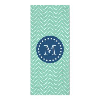 Navy Blue, Mint Green Chevron Pattern | Your Monog 4x9.25 Paper Invitation Card