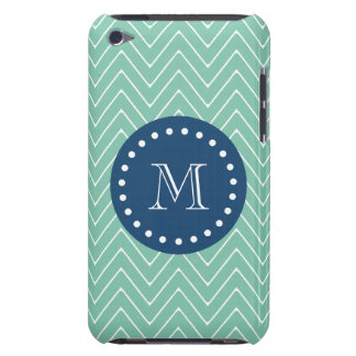 Navy Blue, Mint Green Chevron Pattern   Your Monog iPod Touch Cover