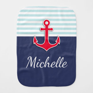 Navy Blue Mint White Stripes Red Anchor Design Burp Cloth