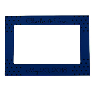 Navy blue modern black squares picture frame