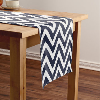 Navy Blue Modern Chevron Stripes Short Table Runner