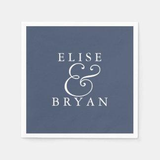 Navy Blue Modern Elegant Wedding Napkin Disposable Napkins