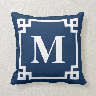Navy Blue Modern Greek Key Border Monogram Throw Pillow