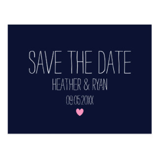 Navy blue modern save the date postcard