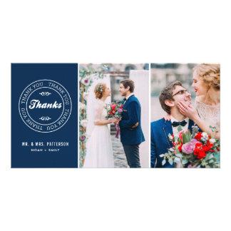 Navy Blue Modern Tag Two-Photo Wedding Thank You Card