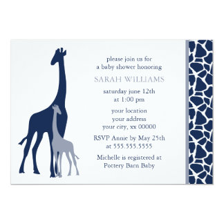 Navy Blue Mom and Baby Giraffe Baby Shower Card