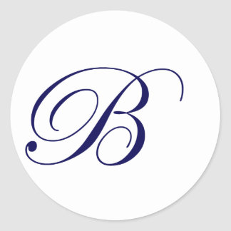 Navy Blue Monogram B Classic Round Sticker