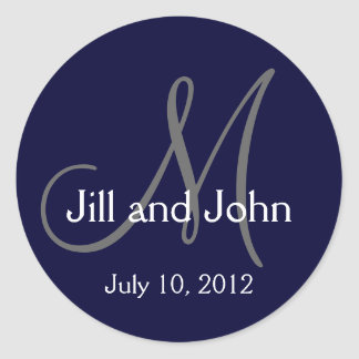 Navy Blue Monogram Wedding Bride Groom Date Seal Round Sticker