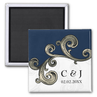 """""""navy blue"""" monogram wedding save the date magnets"""