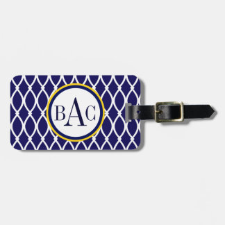 Navy Blue Monogrammed Barcelona Print Luggage Tag