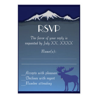 Navy blue moose mountain wedding RSVP cards
