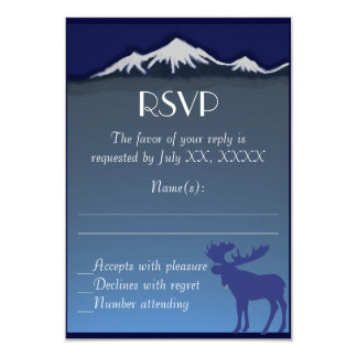 "Navy blue moose mountain wedding RSVP cards 3.5"" X 5"" Invitation Card"