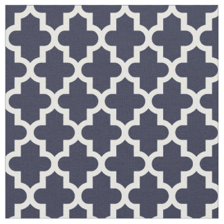 Navy Blue Moroccan Print Fabric