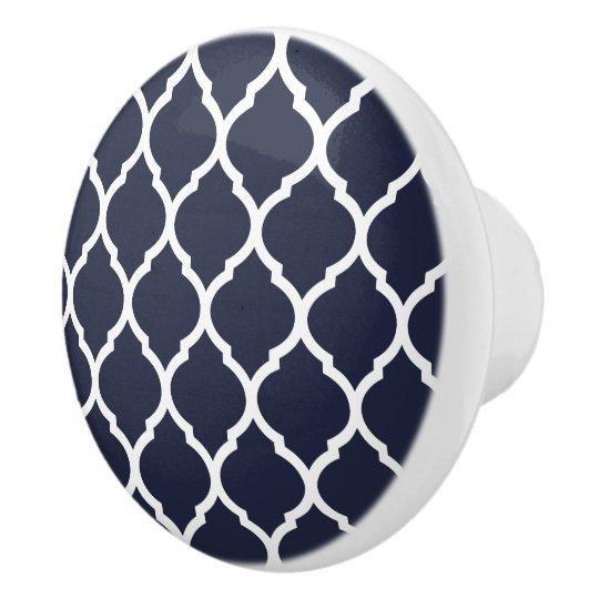 Navy Blue Moroccan Quatrefoil Ceramic Knob