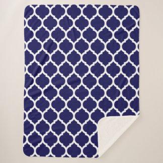 Navy Blue Moroccan Quatrefoil Pattern Sherpa Blanket