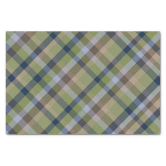 Navy Blue Moss Green and Brown Plaid Tissue Paper