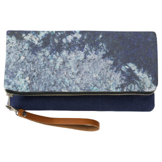 Navy blue moss pattern clutch