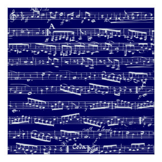 Navy blue music notes posters