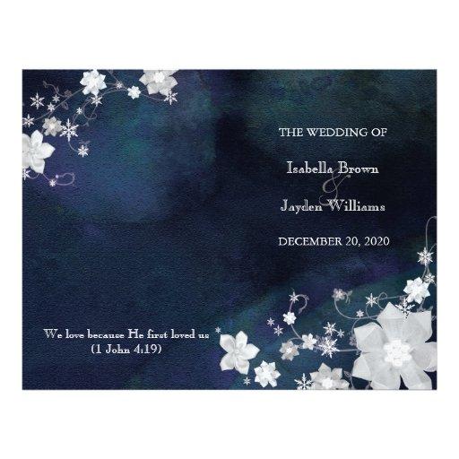 Navy Blue n White Wedding Ceremony Bi Fold Program Flyers