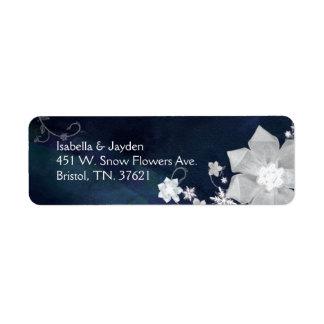 Navy Blue n White Wedding Return Address Labels