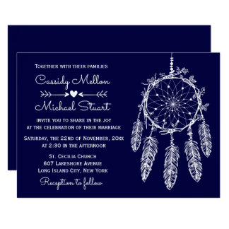 Navy Blue Native American Dream Catcher Wedding Card