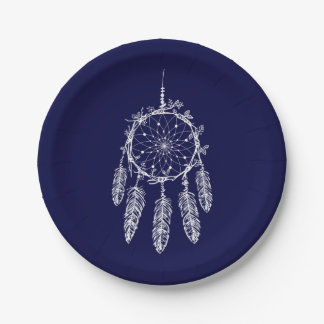 Navy Blue Native American Dream Catcher Wedding Paper Plate