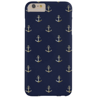 Navy blue nautical anchor barely there iPhone 6 plus case