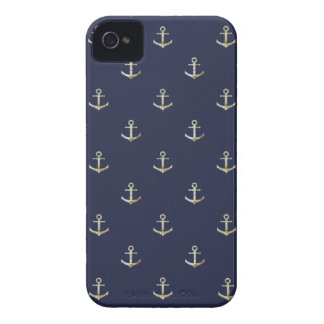 Navy blue nautical anchor Case-Mate iPhone 4 cases