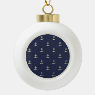 Navy blue nautical anchor ceramic ball christmas ornament
