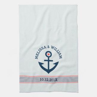 Navy Blue Nautical Anchor & Decorative Stripes Hand Towels