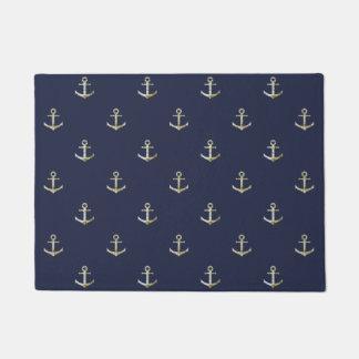 Navy blue nautical anchor doormat