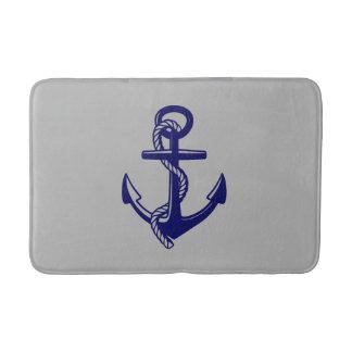Navy Blue Nautical Anchor Grey Bath Mat