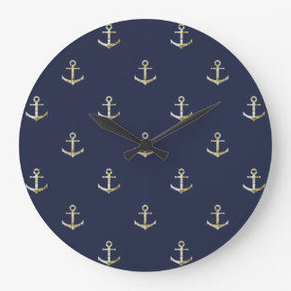 Navy blue nautical anchor large clock